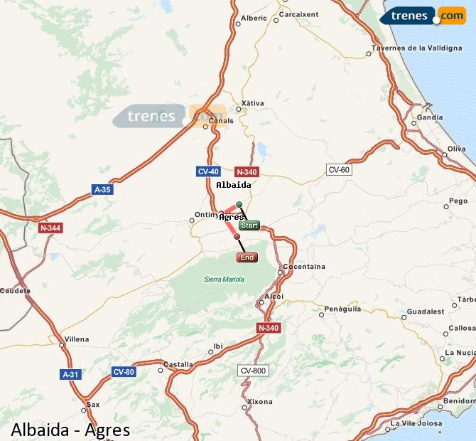Enlarge map Trains Albaida to Agres