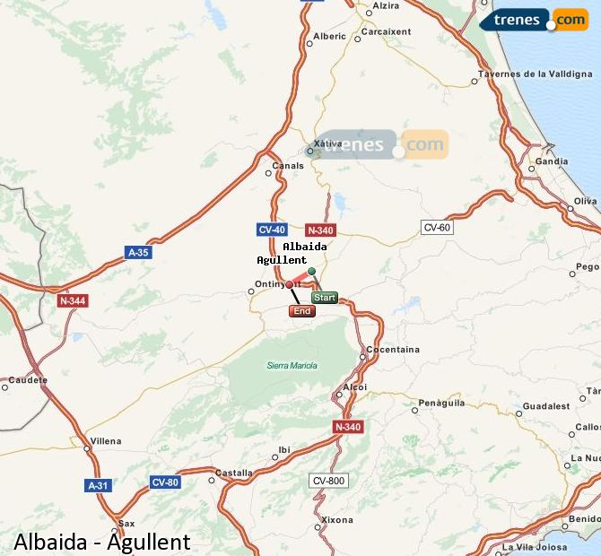 Enlarge map Trains Albaida to Agullent