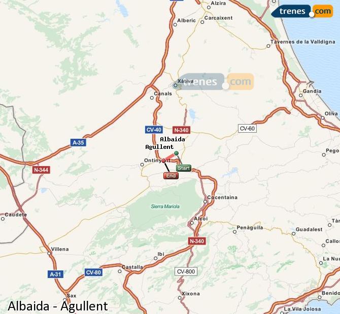 Karte vergrößern Züge Albaida Agullent