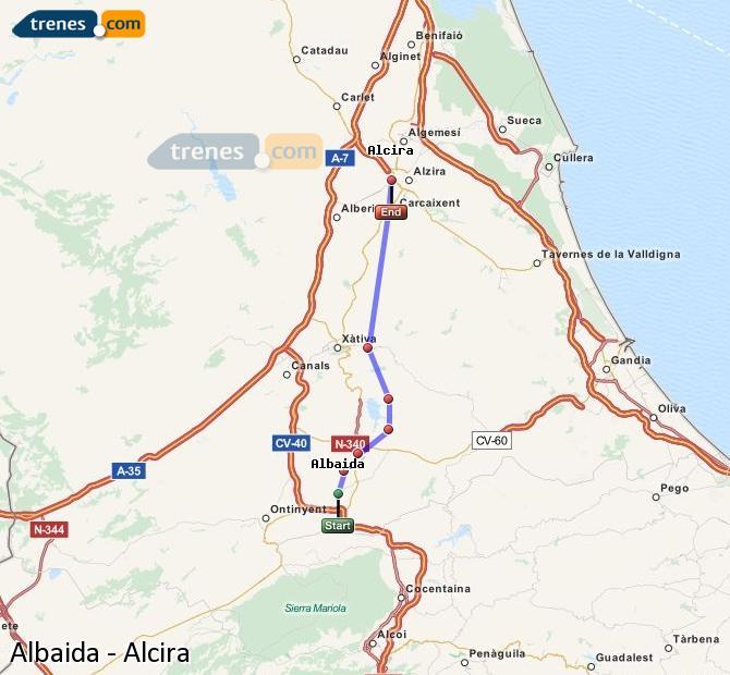 Ampliar mapa Comboios Albaida Alcira