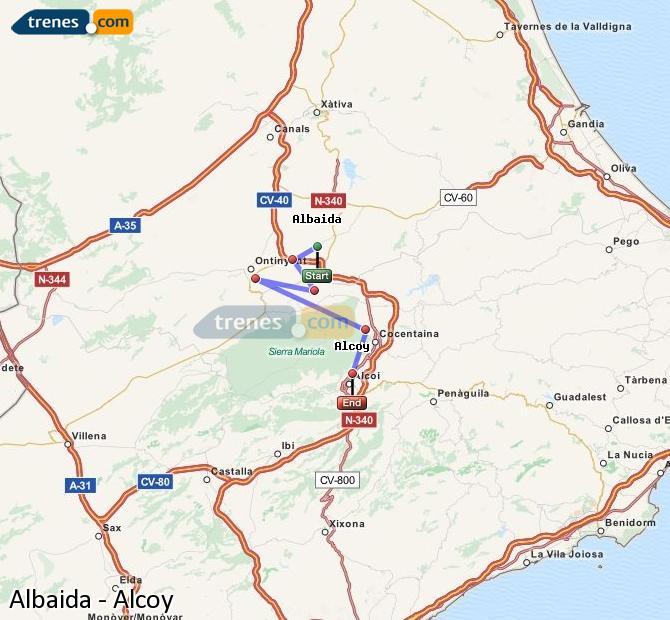 Ampliar mapa Trenes Albaida Alcoy