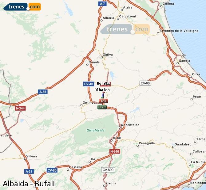 Agrandir la carte Trains Albaida Bufali