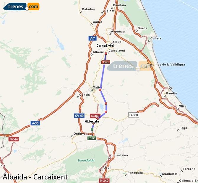 Ampliar mapa Trenes Albaida Carcaixent
