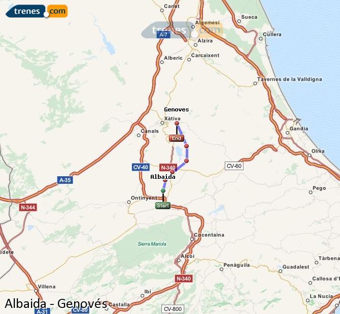 Enlarge map Trains Albaida to Genovés