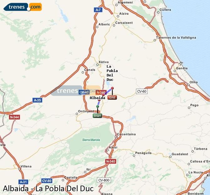 Enlarge map Trains Albaida to La Pobla Del Duc