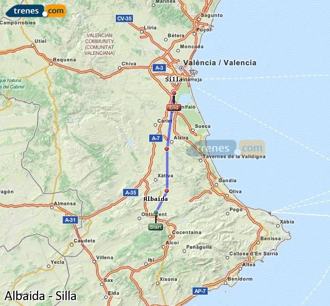 Enlarge map Trains Albaida to Silla