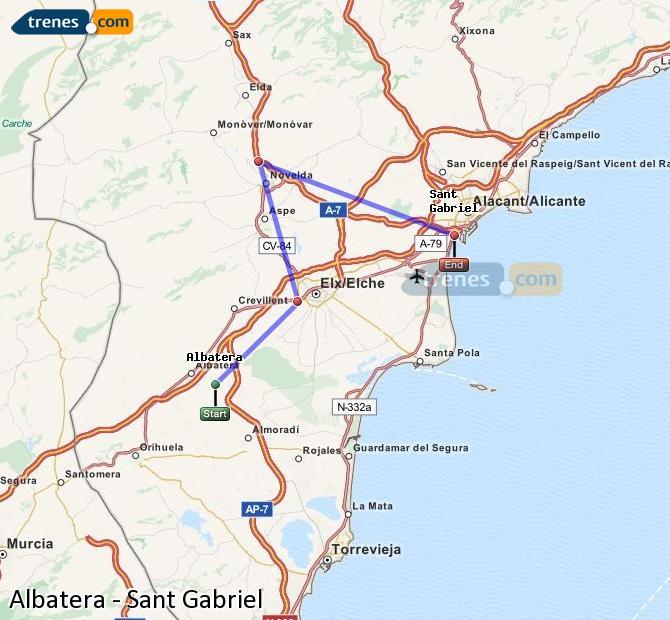 Ampliar mapa Comboios Albatera Sant Gabriel
