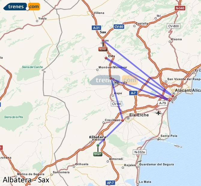 Ingrandisci la mappa Treni Albatera Sax