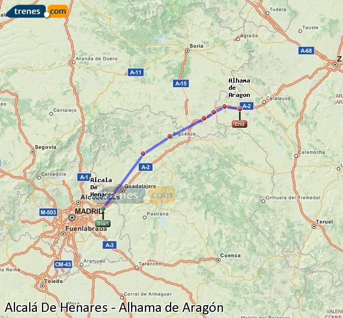 Enlarge map Trains Alcalá De Henares to Alhama de Aragón