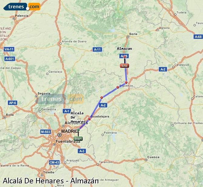 Enlarge map Trains Alcalá De Henares to Almazán