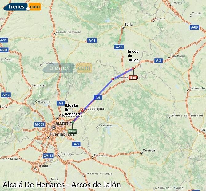 Enlarge map Trains Alcalá De Henares to Arcos de Jalón