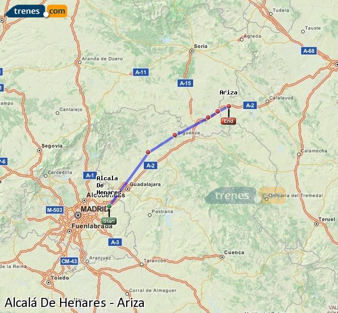 Enlarge map Trains Alcalá De Henares to Ariza