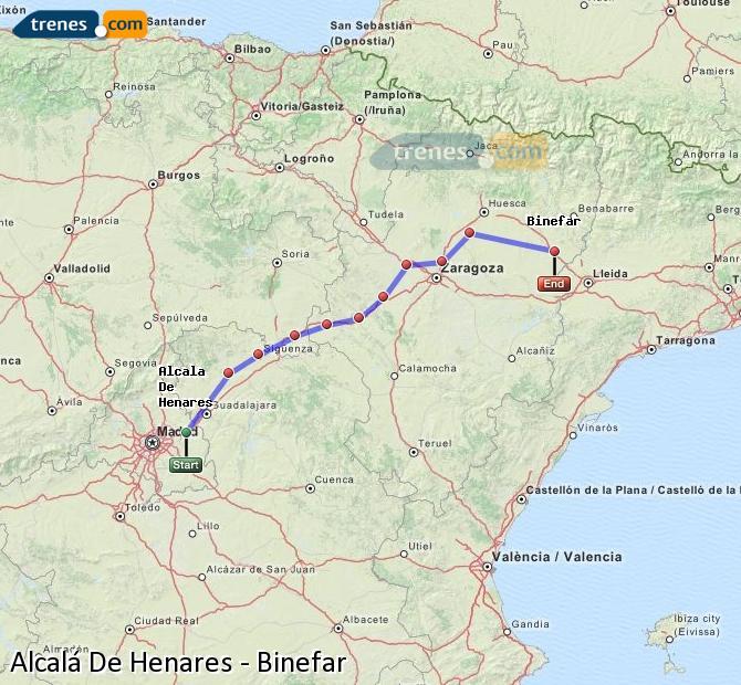 Agrandir la carte Trains Alcalá De Henares Binefar