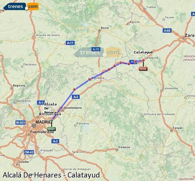 Enlarge map Trains Alcalá De Henares to Calatayud