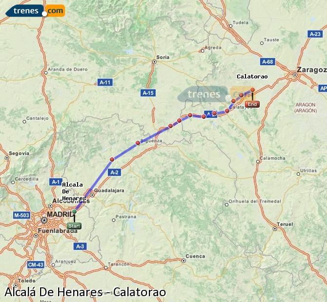 Ingrandisci la mappa Treni Alcalá De Henares Calatorao
