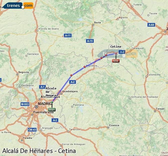Enlarge map Trains Alcalá De Henares to Cetina
