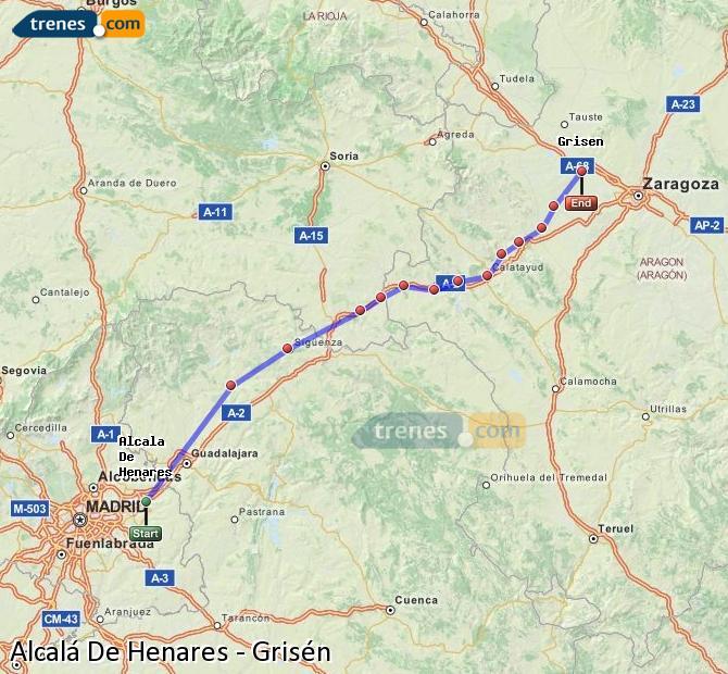 Enlarge map Trains Alcalá De Henares to Grisén