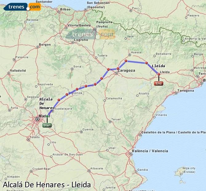 Enlarge map Trains Alcalá De Henares to Lleida