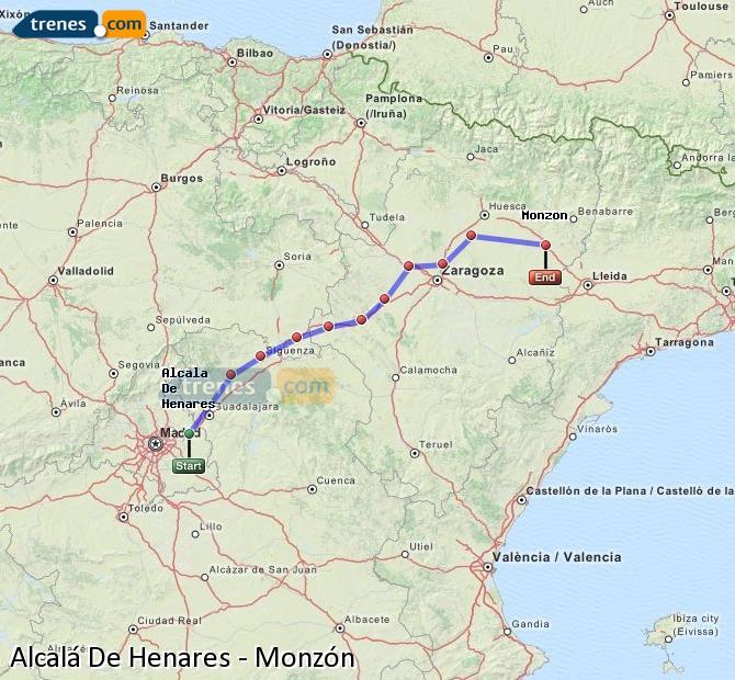 Karte vergrößern Züge Alcalá De Henares Monzón