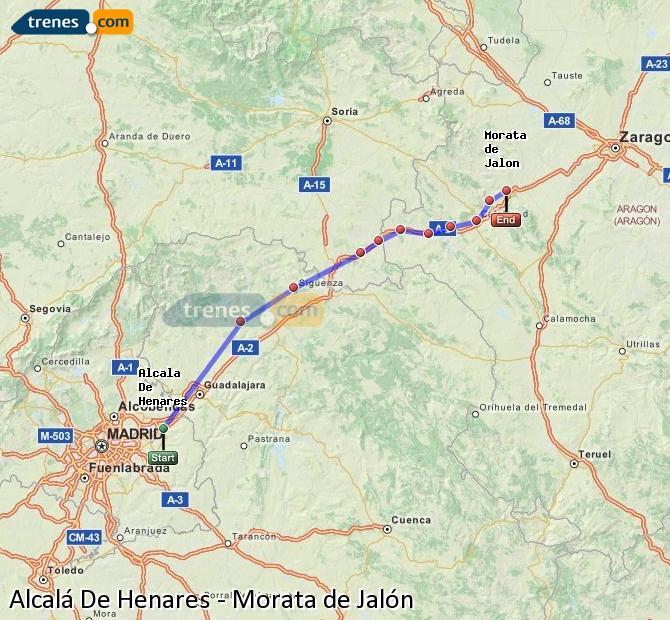 Enlarge map Trains Alcalá De Henares to Morata de Jalón