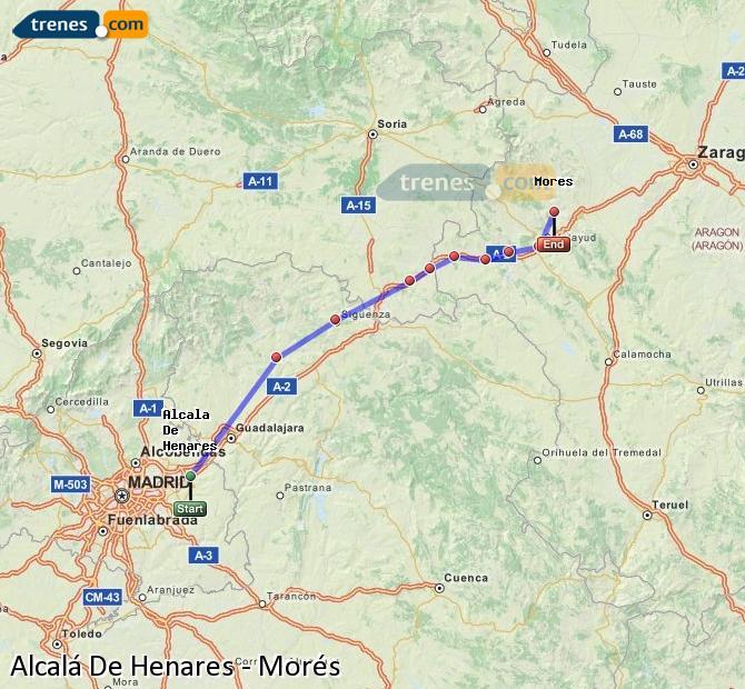 Agrandir la carte Trains Alcalá De Henares Morés
