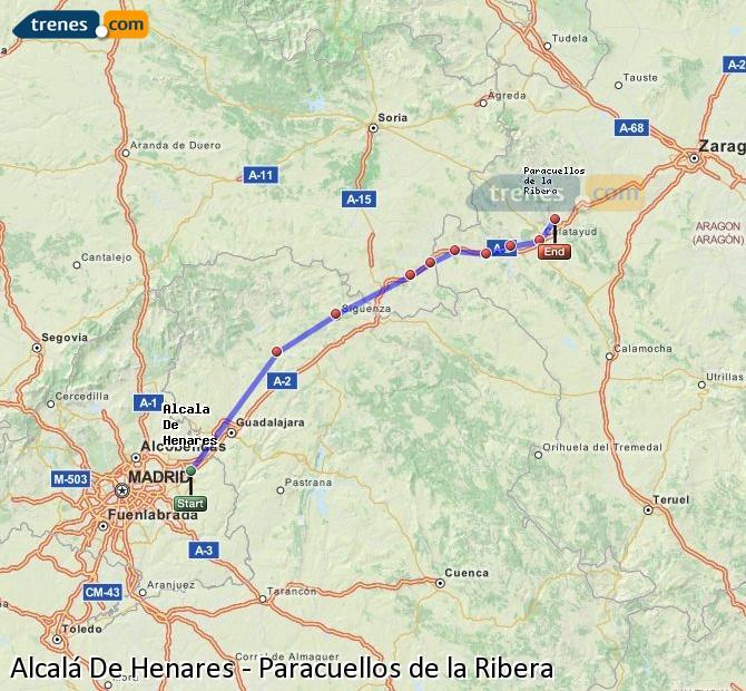 Enlarge map Trains Alcalá De Henares to Paracuellos de la Ribera