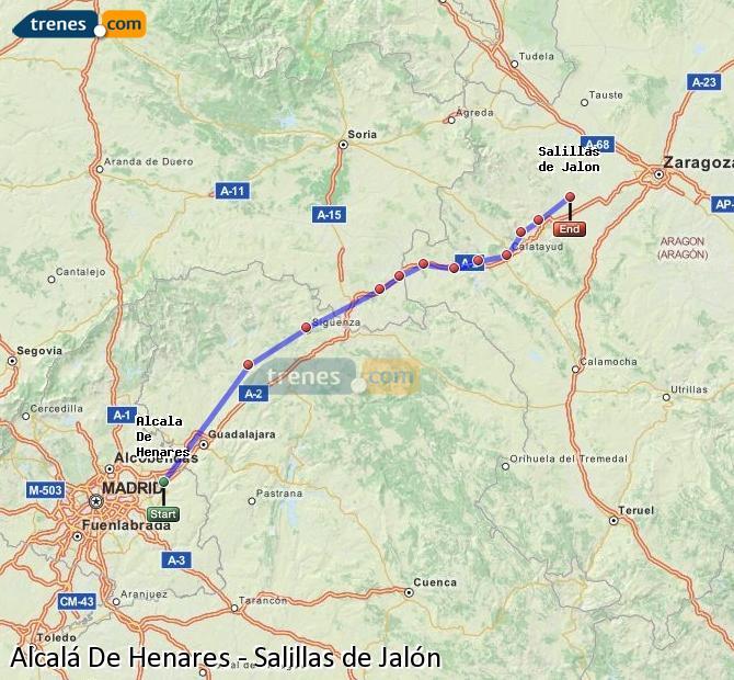 Karte vergrößern Züge Alcalá De Henares Salillas de Jalón