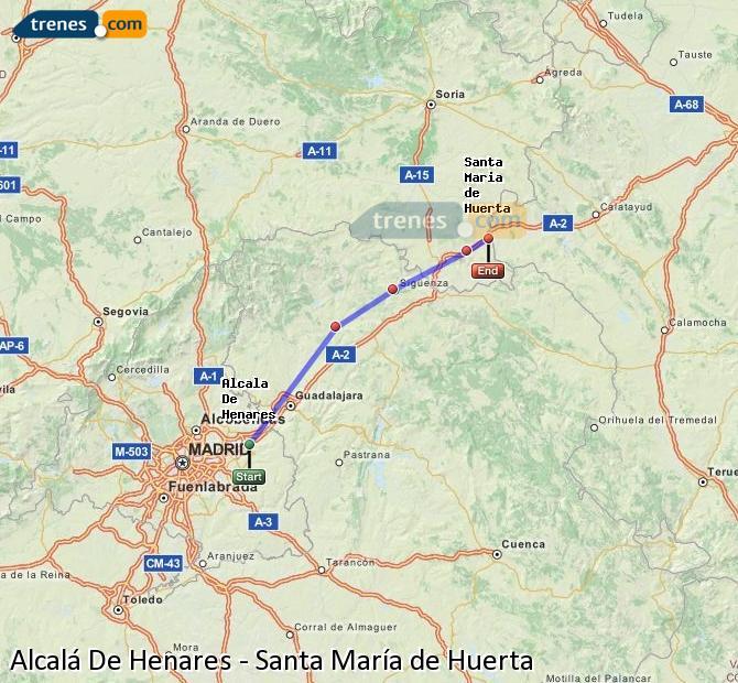 Enlarge map Trains Alcalá De Henares to Santa María de Huerta