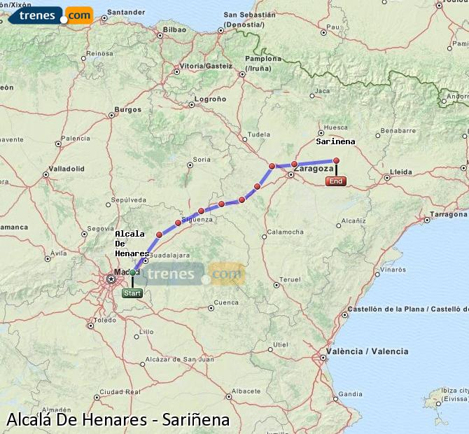 Enlarge map Trains Alcalá De Henares to Sariñena