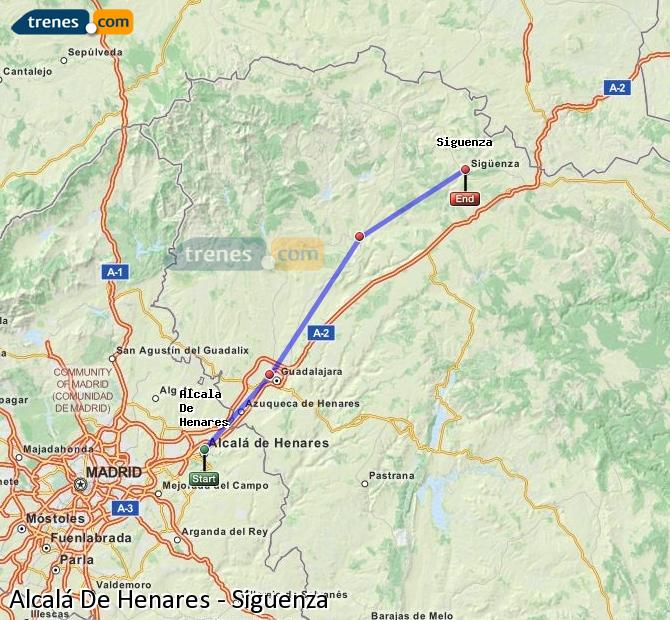 Enlarge map Trains Alcalá De Henares to Siguenza
