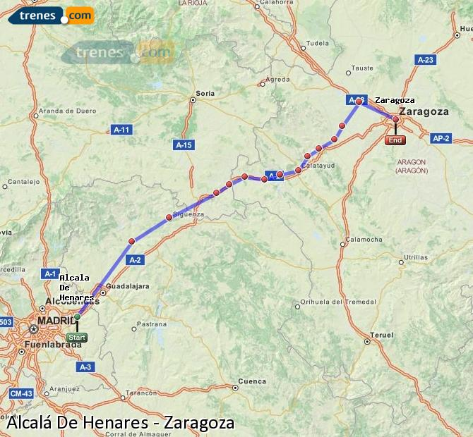 Enlarge map Trains Alcalá De Henares to Zaragoza