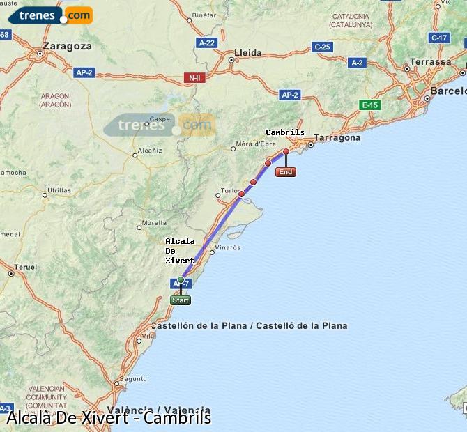 Ampliar mapa Trenes Alcalà De Xivert Cambrils