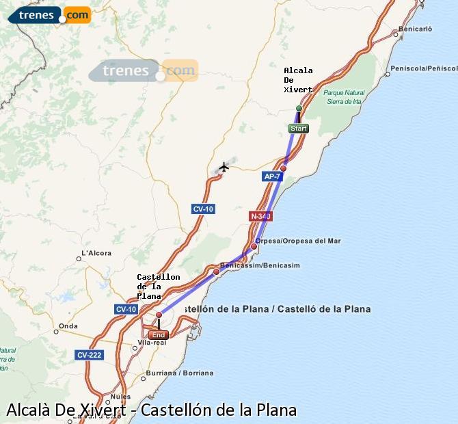 Ampliar mapa Trenes Alcalà De Xivert Castellón