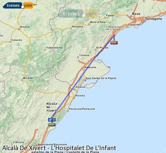 Ingrandisci la mappa Treni Alcalà De Xivert L'Hospitalet De L'Infant
