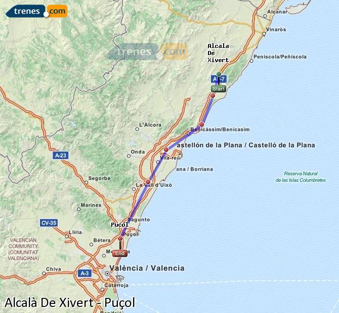Agrandir la carte Trains Alcalà De Xivert Puçol