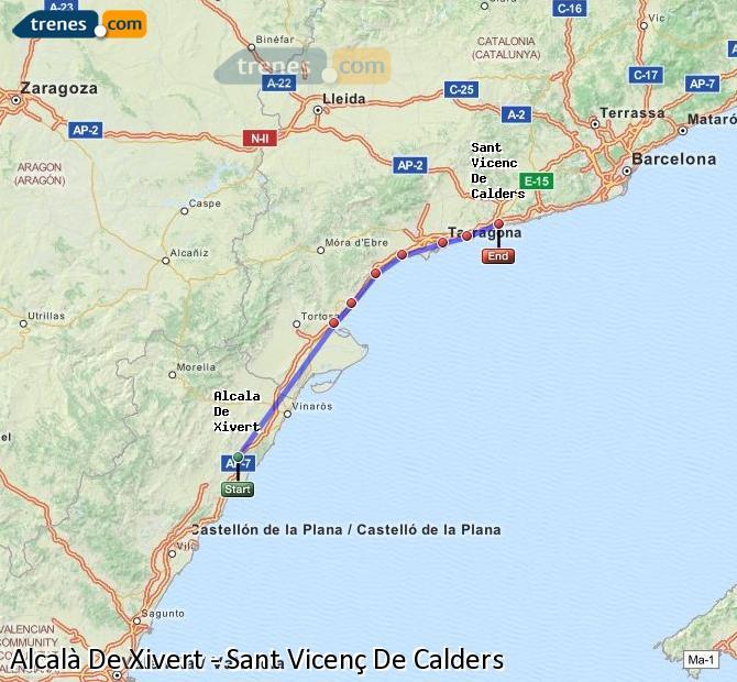 Enlarge map Trains Alcalà De Xivert to Sant Vicenç De Calders