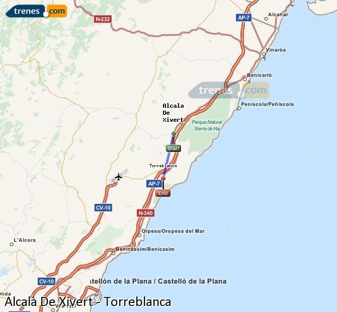 Ampliar mapa Trenes Alcalà De Xivert Torreblanca