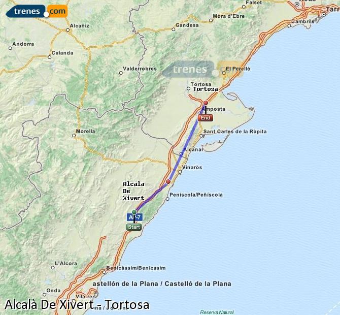 Agrandir la carte Trains Alcalà De Xivert Tortosa