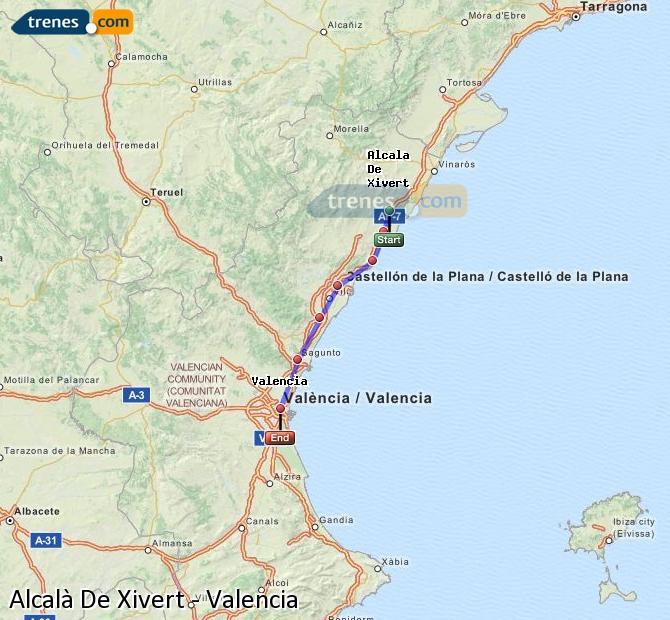 Karte vergrößern Züge Alcalà De Xivert Valencia