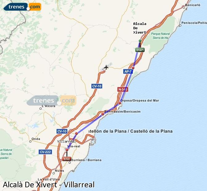 Enlarge map Trains Alcalà De Xivert to Villarreal