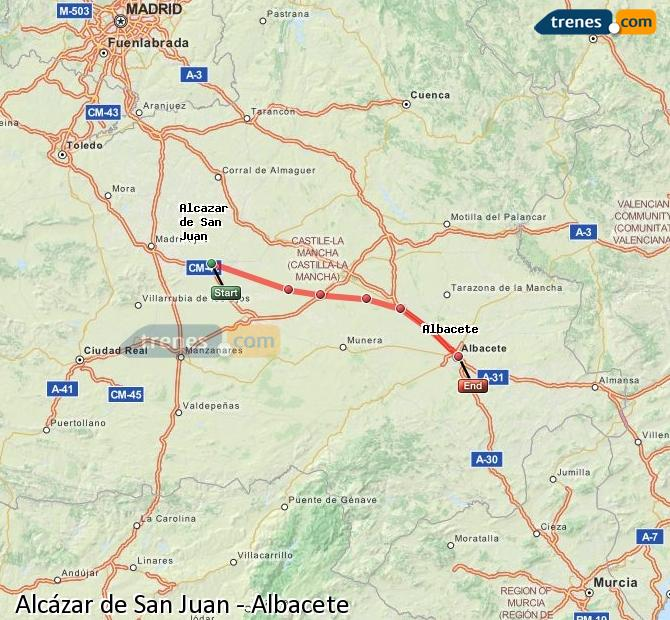 Enlarge map Trains Alcazar de San Juan to Albacete