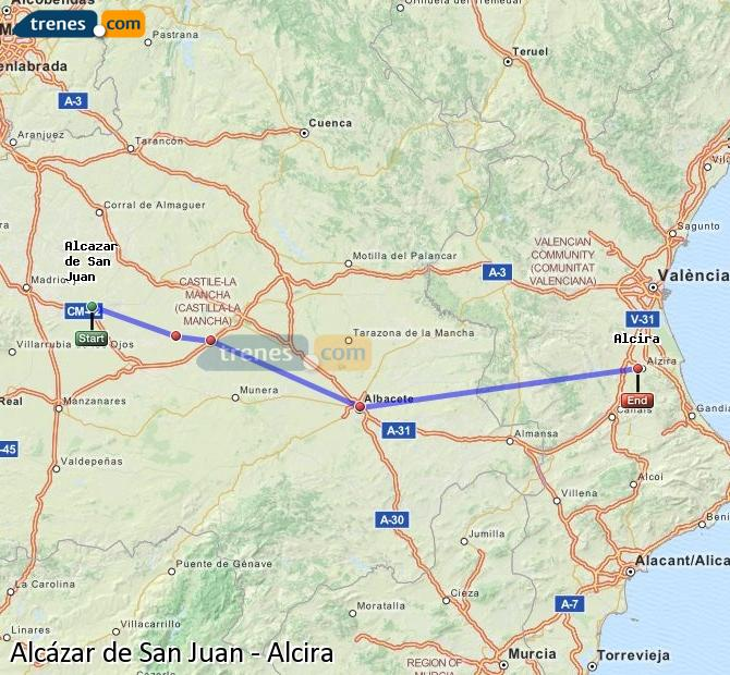 Enlarge map Trains Alcazar de San Juan to Alcira