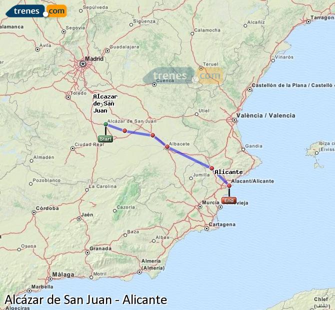 Enlarge map Trains Alcazar de San Juan to Alicante