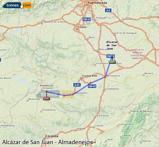 Ampliar mapa Trenes Alcázar de San Juan Almadenejos
