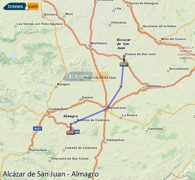 Enlarge map Trains Alcazar de San Juan to Almagro