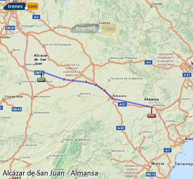 Enlarge map Trains Alcazar de San Juan to Almansa