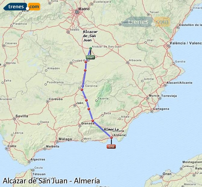 Enlarge map Trains Alcazar de San Juan to Almeria