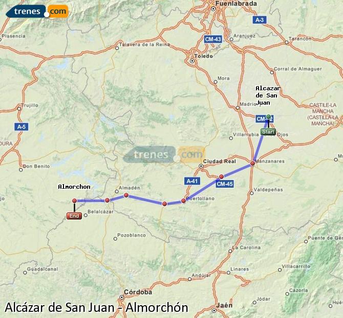 Ampliar mapa Trenes Alcázar de San Juan Almorchón