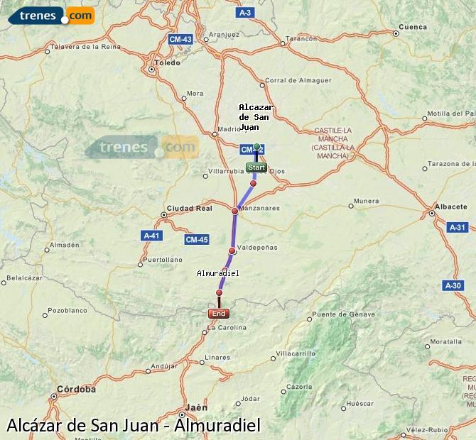 Agrandir la carte Trains Alcázar de San Juan Almuradiel