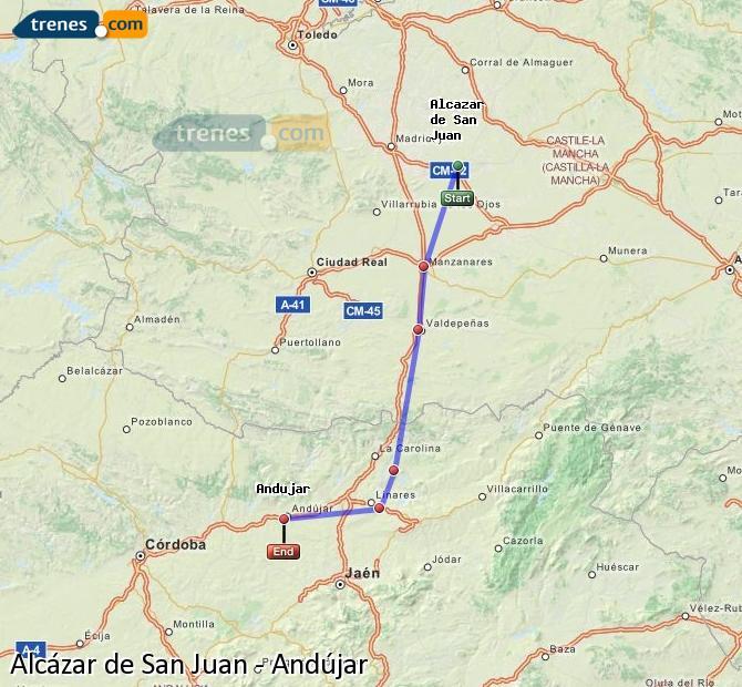 Ampliar mapa Trenes Alcázar de San Juan Andújar